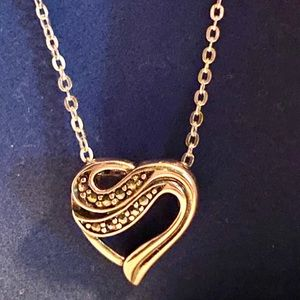 Avon sterling silver open heart marcasite necklace